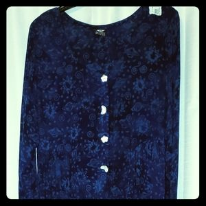 Batik Dress Moon and Stars Mother of Pearl Buttons